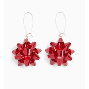🆕 Red Holiday Bow Dangle Earrings Christmas NWT